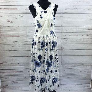 Tahari Asl Lace A-Line Dress Floral Boho Size 10